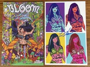 BLOOM #1 COMIC BOOK & PRINT BOTH SIGNED BY TED SIKORA HERO TOMORROW COMICS 2021