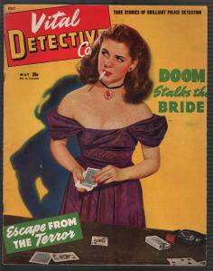 Vital Detective Cases 4/1945-spicy woman-cards-violent-pulp thrills-crime-VG