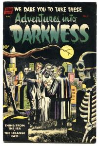 ADVENTURES INTO DARKNESS #6 1952-Twisted Skeleton Marriage cover! PCH