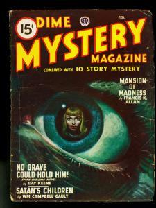 Dime Mystery Pulp February 1948- Eyeball cover- Day Keene- VG