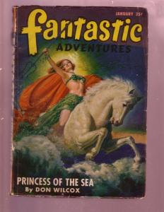 FANTASTIC ADVENTURES-JAN 1947-GOOD GIRL ART COVER-PULP G/VG