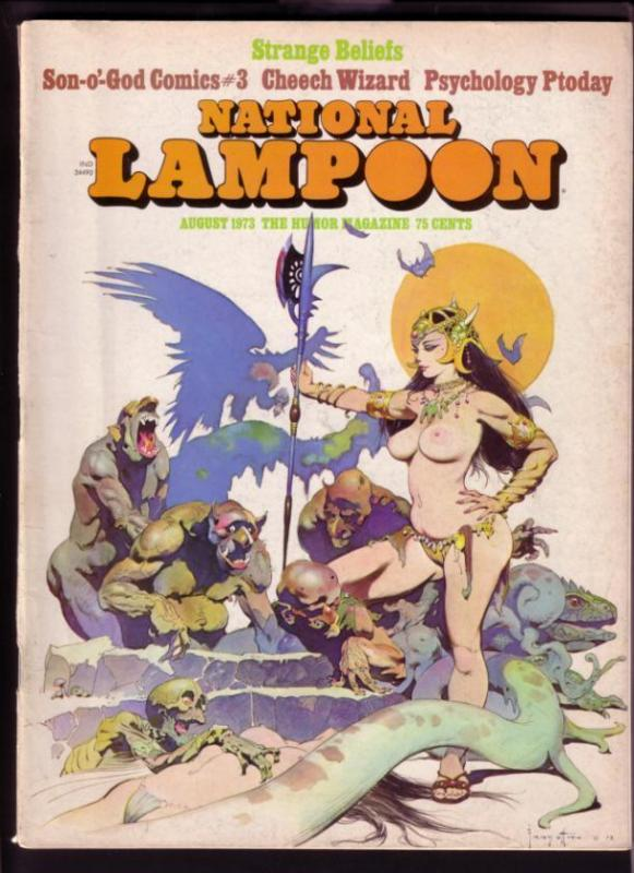 NATIONAL LAMPOON-AUG 1973-SPICY FRAZETTA CVR-ADAMS-BODE FN