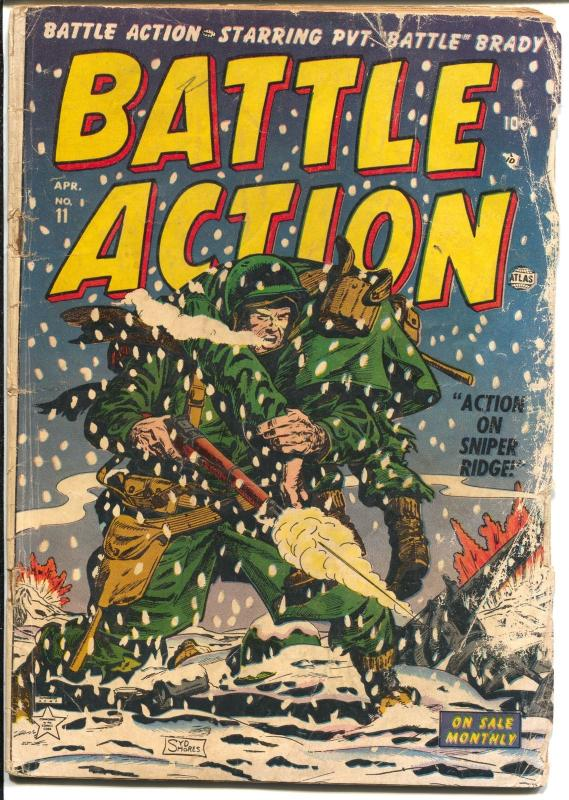 Battle Action #11 1953-Atlas-Syd Shores-Korean War stories-Battle Brady-G-