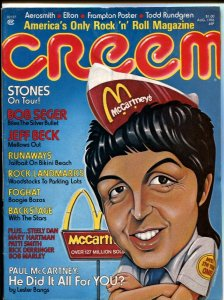 Creem 8/1976-Paul McCartney-rock n roll history-Aerosmith-Elton John-VG/FN