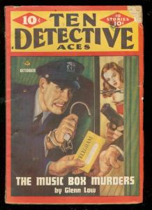 TEN DETECTIVE ACES PULP OCT 1946-MUSIC BOX MURDER-CRIME VG-