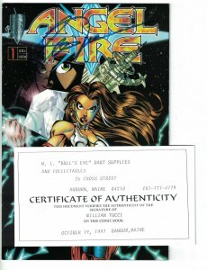 Angel Fire #1 VF/NM variant signed by William (Bill) Tucci w/COA - Crusade 1997