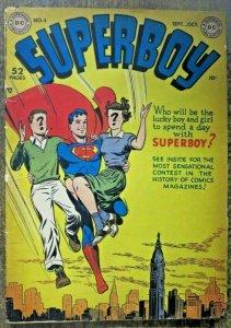 SUPERBOY #4 (DC, 9/1949)  FAIR-GOOD (FR-G)  1/2 book spine split, Golden Age