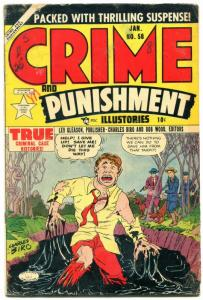 Crimes and Punishment #58 1953- Golden Age- Tar Pit cover VG