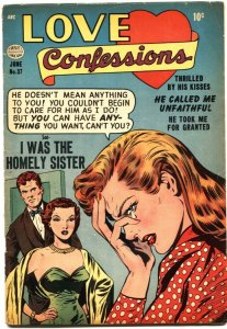 LOVE CONFESSIONS #37-LOVE TRIANGLE-SPICY POSES-GOOD GIRL ART-1954-RARE