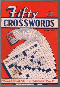 Fifty Crosswords #1 9/1941-Harle-1st issue-WWII era-high grade-infinity cover-FN