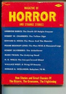 Magazine Of Horror and Strange Stories #1 8/1963-1st issue-pulp terror-weird ...