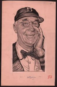Lou Darvas Original Sporting News Art-1950's-Burt Shotton-Brooklyn-Dodgers-VG