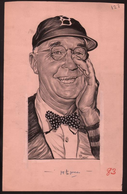 Lou Darvas Original Sporting News Art-1950's-Burt Shotton-Brooklyn-Dodgers-VG