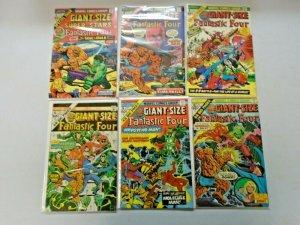 Fantastic Four Giant Size Comic Lot Set #1-6 (#4 has no MUS) Average 5.5 (1974)