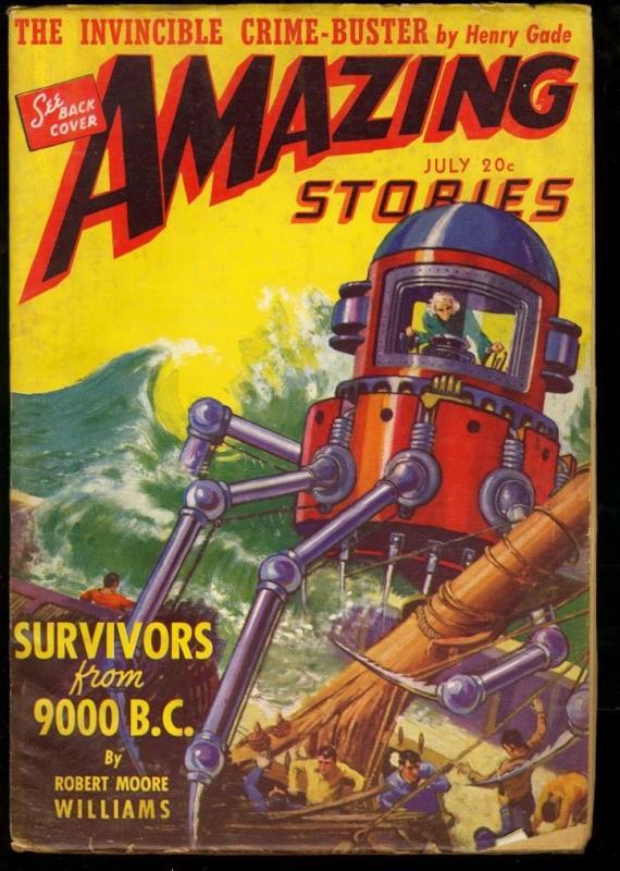 AMAZING STORIES 1941 JUL-COOL SCI FI PULP FN