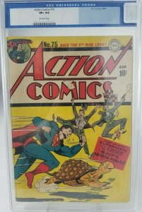 Action Comics #75~1944 DC~CGC 8.5 (VF+)~Aesop's Modern Fables