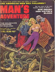 Man's Adventure 5/1961-Stanley-terror cover-violence-crime-cheesecake-VG