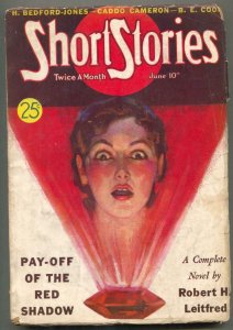 Short Stories Pulp June 10 1938- Pay-Off of the Red Shadow- Great cover