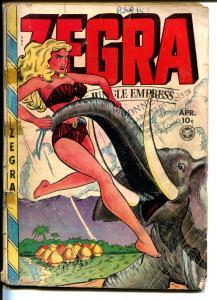 Zegra #5 1949-Fox-elephant cover-final issue-bound babes-rare-FR