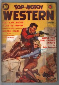 Top-Notch Western 8/1938-J W Scott GGA cover-western pulp thrills-VG