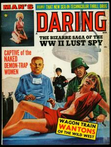 Man's Daring Pulp Magazine March 1966- Nazi Medical Horror cover- Lust Spy LSD