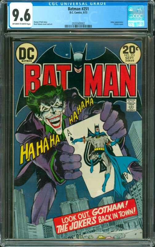 Batman #251 CGC Graded 9.6 Joker appearance. Classic Cover