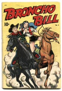 Broncho Bill #5 1947- headlight cover- Golden Age western VG