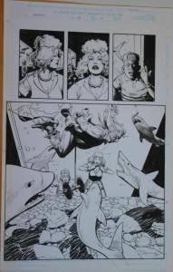 PAUL CHADWICK / RON RANDALL original art, DEADPOOL #46, Pg 14, Sharks, 1997