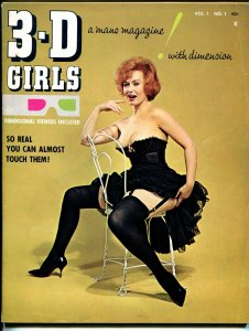 3-D Girls #1 1965-1st issue-unused 3-D glasses included-pin-up girls-FN+