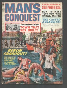 Man's Conquest 6/1963-spicy Basil Gogos cover art-Castro Assassins-commie ter...