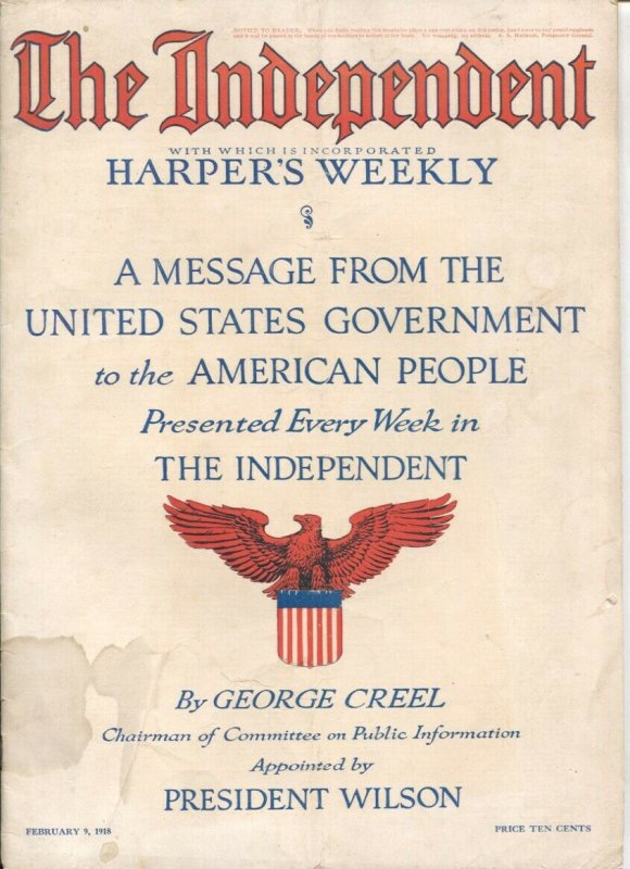 The Independent 2/9/1918-WWI issue-over 100 years old-incorporates Harper's W...