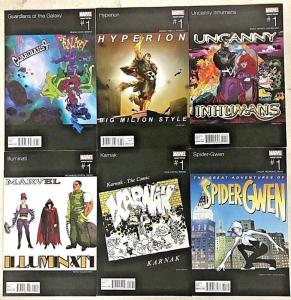MARVEL HIP HOP VARIANT LOT OF 6 BOOKS NM 2016 HYPERION, INHUMANS, KARNAK