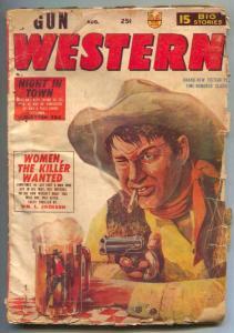 2-Gun Western Novels Pulp August 1955- Beer mug cover P/F