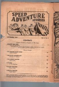 SPEED ADVENTURE STORIES 1944 SEP-SPICY BARGAIN PULP! P/FR