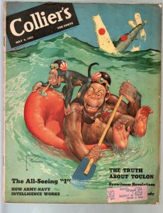 Colliers 5/8/1943-Lawson Wood WWII monkey cover-pulp thrills-Harold Lamb-VG