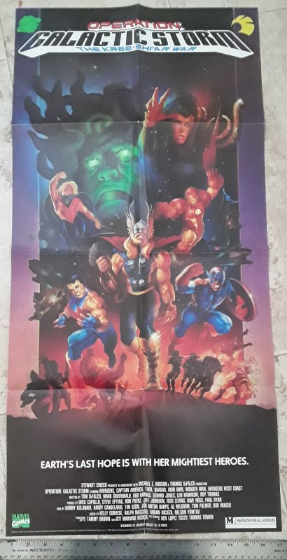 Marvel Comics Operation Galactic Storm 1991 Poster see note