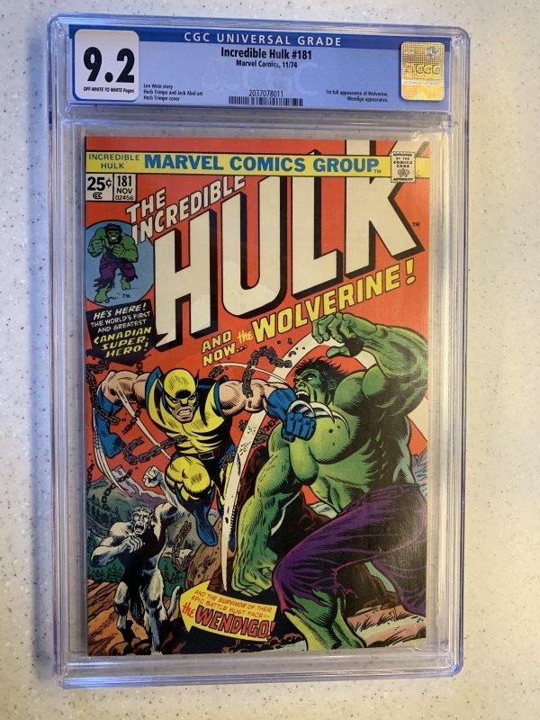 Incredible Hulk #181 Marvel 1st Wolverine Bronze Mega Key CGC 9.2