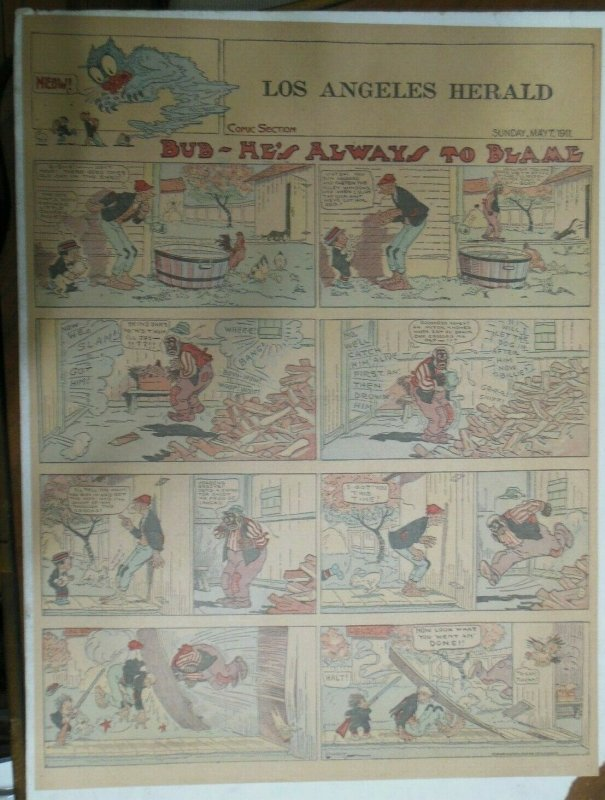 Bud He's Always to Blame Sunday Page by Lowry from 5/7/1911 Full Page Size!