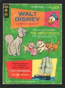 Walt Disney Comics Digest #27 1970-Carl Barks-old Ironsides-Aristocats-Donald...