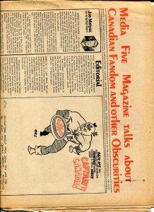 Media 5 Magazine #2 1972-newspaper format-Canadian fanzine-Memory Lane-VG-