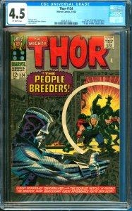 Thor #134 CGC Graded 4.5 1st Appearance of the High Evolutionary, the Man-Bea...
