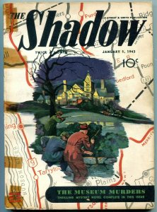 The Shadow Pulp January 1 1943-Museum Murders- Cops are like that G/VG