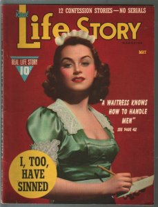 Life Story 5/1940-waitress cover-scandals-exploitation-sensationalism-pulp-VG/FN