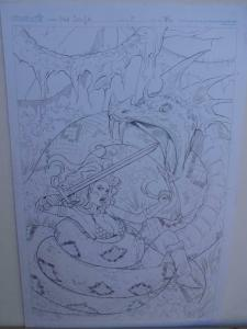 NEI RUFFINO original art, Cover of RED SONJA #8, Signed, 2014, 11x17, vs Snake