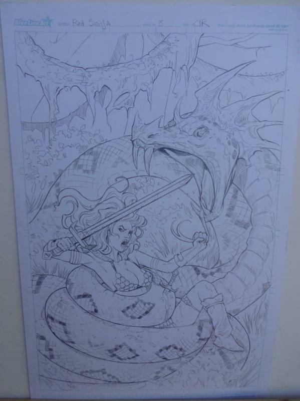 NEI RUFFINO original art, Cover of RED SONJA #8, Signed, 2014, 11x17, vs Snake