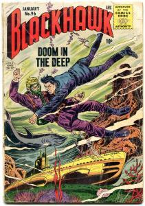 BLACKHAWK #96 1956 QUALITY PUBS SHARK COVER COMMIES G/VG
