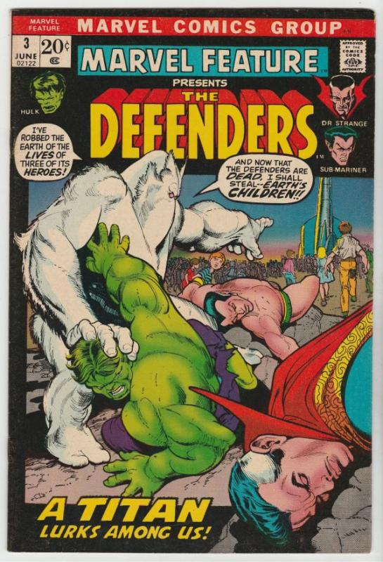 Marvel Feature presents Defenders, The #3 (Jun-72) VF/NM- High-Grade Dr.Stran...
