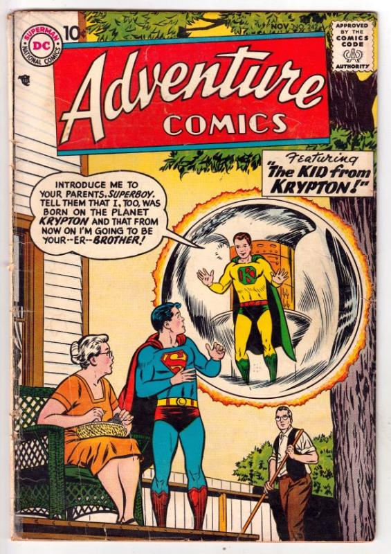 Adventure Comics #242 (Nov-57) VG+ Affordable-Grade Superboy, Green Arrow and...