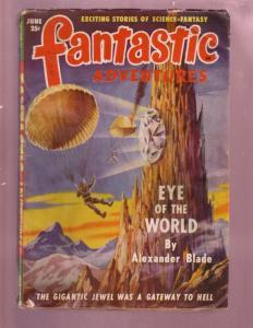 FANTASTIC ADVENTURES-JUNE 1949-PARCHUTE FANTASY PULP-SF VG