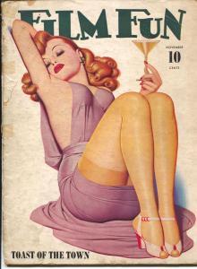 Film Fun 11/1941-Enoch Bolles pin-up girl stocking cover-pix-FR